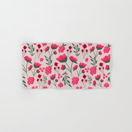 Pink Poppies Seamless Illustration Hand & Bath Towel