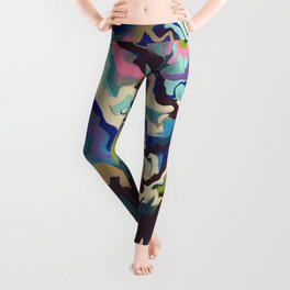 Abstract Music Techno Wave colors earth Leggings