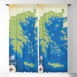 Illustrated map of Greece Blackout Curtain