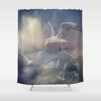 mew Shower Curtains featuring Flying by CindysArt