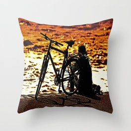 Chilling by the river Throw Pillow
