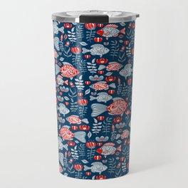 Decorative pattern with fish, flowers and herbs. Folk art. Travel Mug