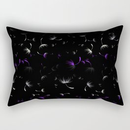 Dandelion Seeds Asexual Pride (black background) Rectangular Pillow