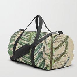 Book Art Page Botanical Leaves Duffle Bag