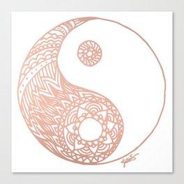 Rose Gold Yin Yang Canvas Print