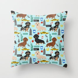 Dachshund dog breed NYC new york city pet pattern doxie coats dapple merle red black and tan Throw Pillow