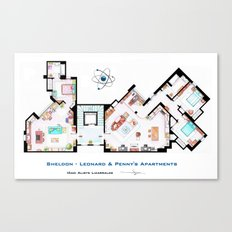 Sheldon, Leonard and Penny Apartment form TBBT Canvas Print