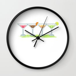 Retro Cocktails Bartender Gift For Cocktail Lover Wall Clock