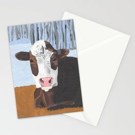 Cow In The Winter Stationery Cards
