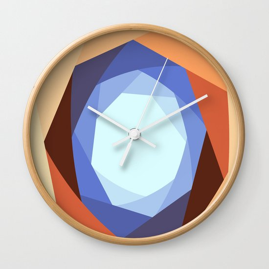 Earth Tones and Blue Decorative Pattern Wall Clock