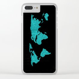 Teal Cyan Metallic Foil Map on Black Clear iPhone Case