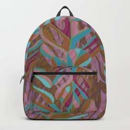 Tropical Burst, pink and green leaf pattern Backpack