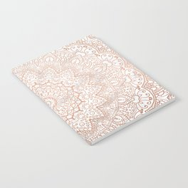 Mandala - rose gold and white marble 3 Notebook