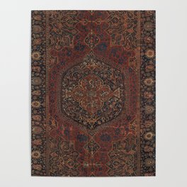 Boho Chic Dark I // 17th Century Colorful Medallion Red Blue Green Brown Ornate Accent Rug Pattern Poster