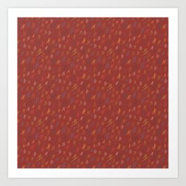 Abstract Orchard HashTag Compost-Red Art Print