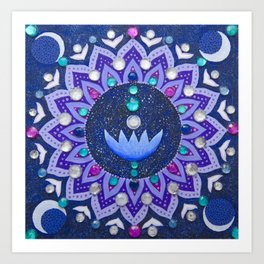 Lotus and Moon Phases Jewelled Mandala Art Print
