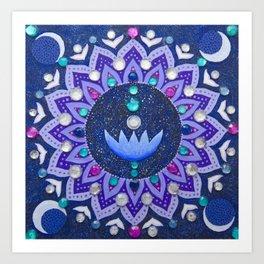 Lotus and Moon Phases Jewelled Mandala Art Print