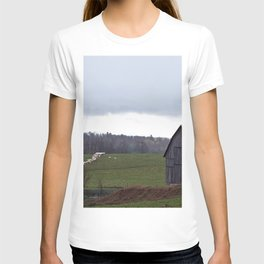 Barn and the Cattle on the hill T-shirt