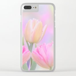Painterly Pastel Tulips Clear iPhone Case