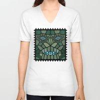 kaiju V-neck T-shirts featuring Kaiju Voronoi by Enrique Valles