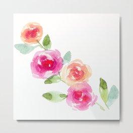 Pink and Orange Roses Metal Print