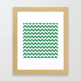Kelly Green and White Chevron Print Framed Art Print