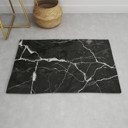 Black Suede Marble With White Lightning Veins Rug
