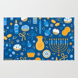Hanukkah Happy Holidays Pattern Rug