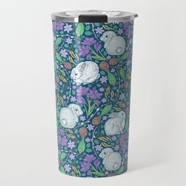 Cute rabbits amount birch blossom and purple crocuses on dark background Travel Mug