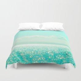 Winter Aqua Sparkling Seashore Duvet Cover