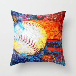 Colorful Baseball Art Throw Pillow