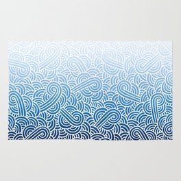 Ombre blue and white swirls doodles Rug