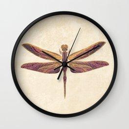 Art Nouveau Dragonfly In Purple Wall Clock