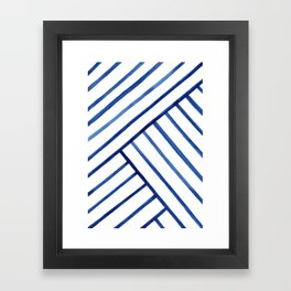 Watercolor lines pattern | Navy blue Framed Art Print