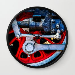 Old Steam Train Wheel Fittings And Valves. Railway Art. Wall Clock