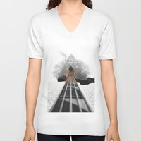 bass V-neck T-shirts featuring bass by Ilenia Locci
