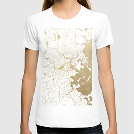 Boston White and Gold Map T-shirt