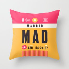 Baggage Tag A - MAD Madrid Barajas Spain Throw Pillow
