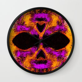 psychedelic angry skull portrait in pink orange yellow Wall Clock
