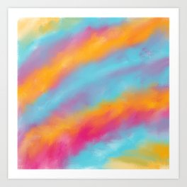 Abstract colorful rainbow watercolor brushstrokes Art Print