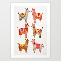 Art Prints featuring Alpacas by Cat Coquillette