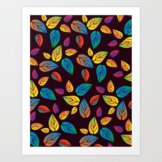 colors of leaves 1 Art Print