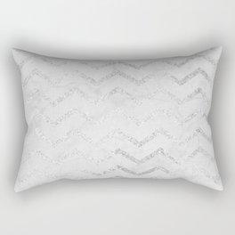 Geometric gray marble silver glitter chevron Rectangular Pillow