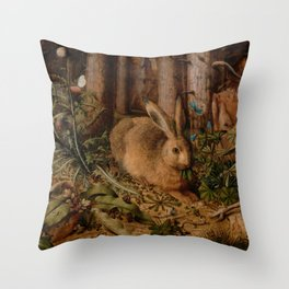 A Hare In The Forest Hans Hoffmann Throw Pillow