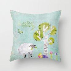 Easter Morning- Animal Sheep - for children Throw Pillow