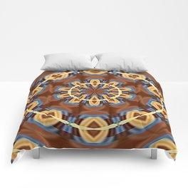 Blue Wood Kaleido Pattern Comforters