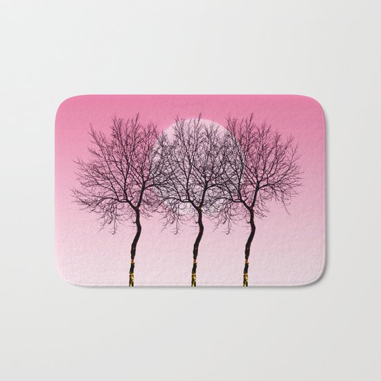Triplet trees in pink Bath Mat