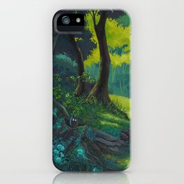 Magic forest glade art bright colors iPhone Case