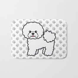 Cute White Bichon Frise Dog Cartoon Illustration Bath Mat