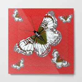 DECORATIVE WHITE & RED PATTERN BUTTERFLIES FROM   SOCIETY6 BY SHARLESART. Metal Print